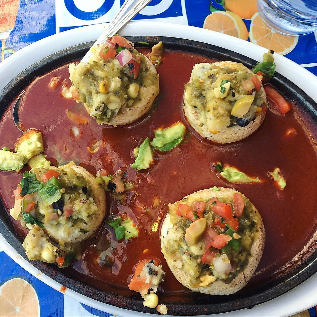"""Photo of El Charro  by <a href=""""/members/profile/AndreaBugyis"""">AndreaBugyis</a> <br/>Vegan Tamale stuffed mushrooms <br/> March 15, 2018  - <a href='/contact/abuse/image/69019/370792'>Report</a>"""