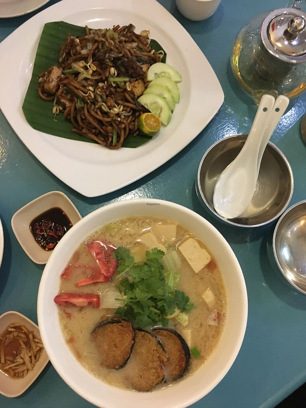 """Photo of You G Cafe  by <a href=""""/members/profile/Spaghetti_monster"""">Spaghetti_monster</a> <br/>Mee mamak and vegan fish noodle soup  <br/> September 14, 2017  - <a href='/contact/abuse/image/69025/304270'>Report</a>"""
