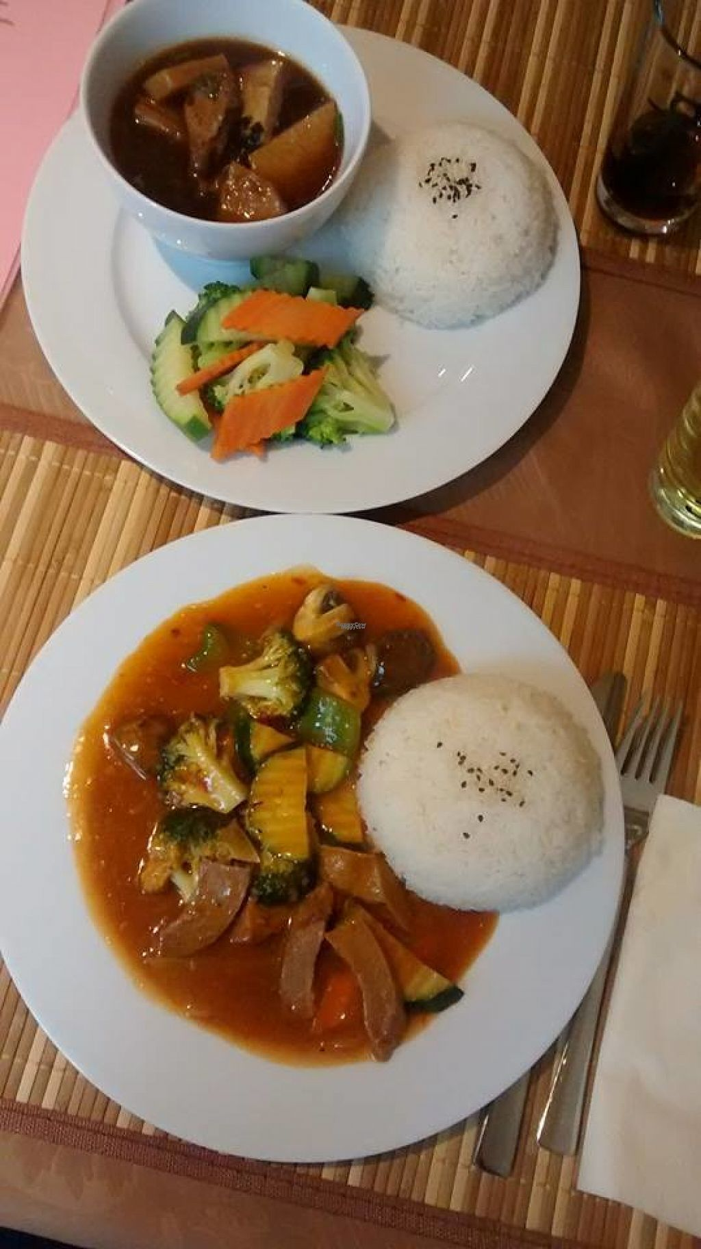 """Photo of Loving Hut - St Georg  by <a href=""""/members/profile/BlisterBlue"""">BlisterBlue</a> <br/>""""Fish"""" stew on top and lemongrass spiced soy proteins at the bottom. Both really good!! <br/> November 2, 2016  - <a href='/contact/abuse/image/69030/186108'>Report</a>"""