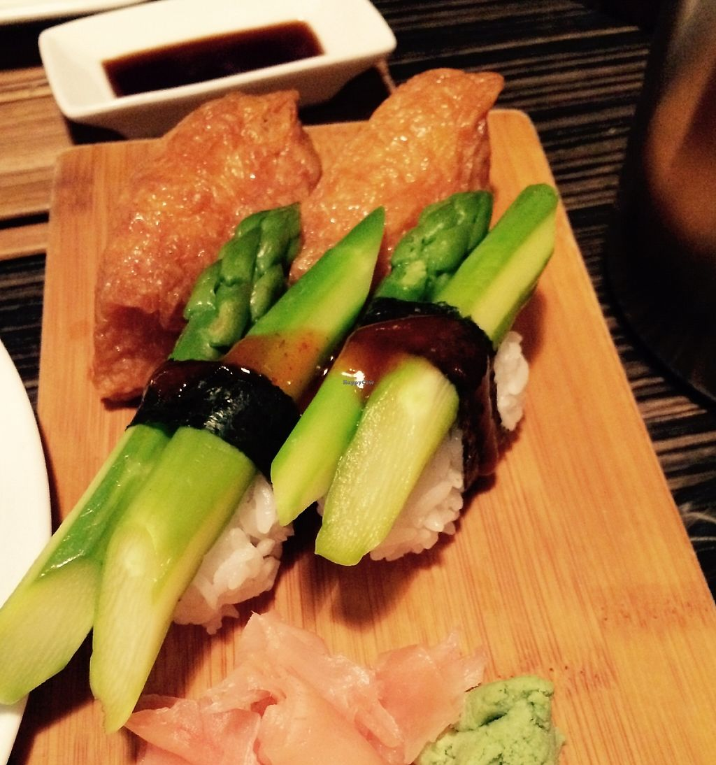 "Photo of Zen  by <a href=""/members/profile/CiaraSlevin"">CiaraSlevin</a> <br/>Tofu & asparagus sushi with pickles, wasabi & soy sauce (vegetarian) <br/> January 31, 2016  - <a href='/contact/abuse/image/69033/239509'>Report</a>"