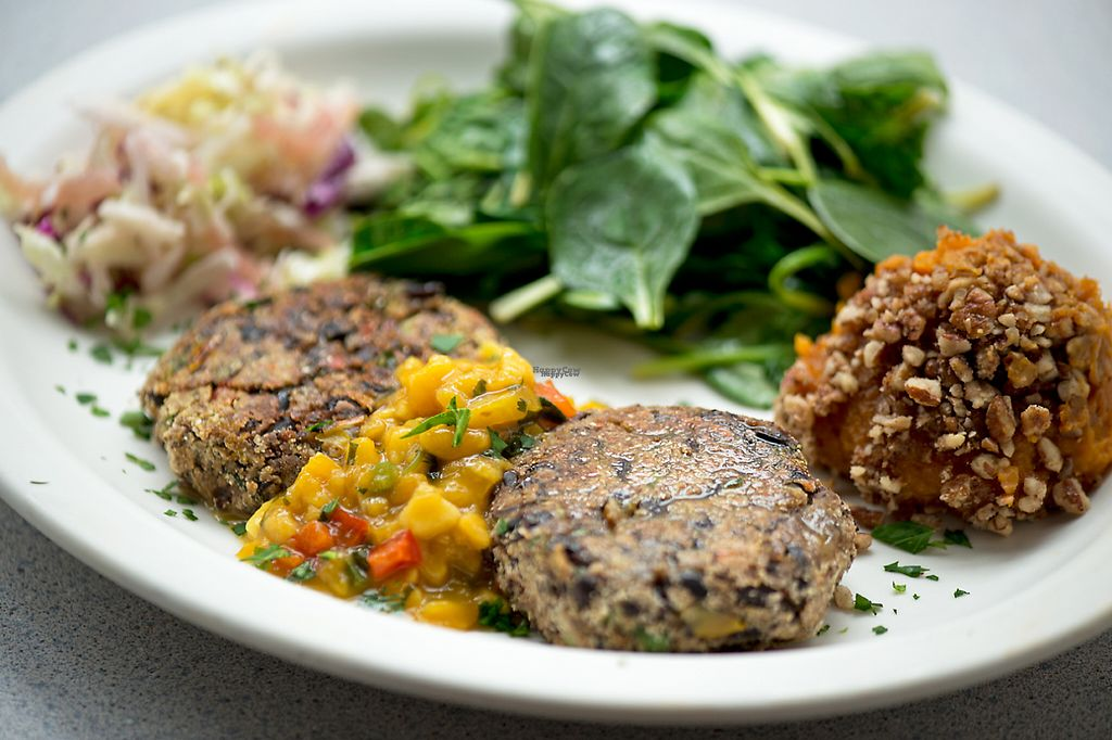 "Photo of Wishbone Restaurant  by <a href=""/members/profile/JulieSitkin"">JulieSitkin</a> <br/>Vegan Black Bean Cakes with mango salsa, sauteed spinach and mashed sweet potatoes <br/> April 26, 2017  - <a href='/contact/abuse/image/69043/252765'>Report</a>"