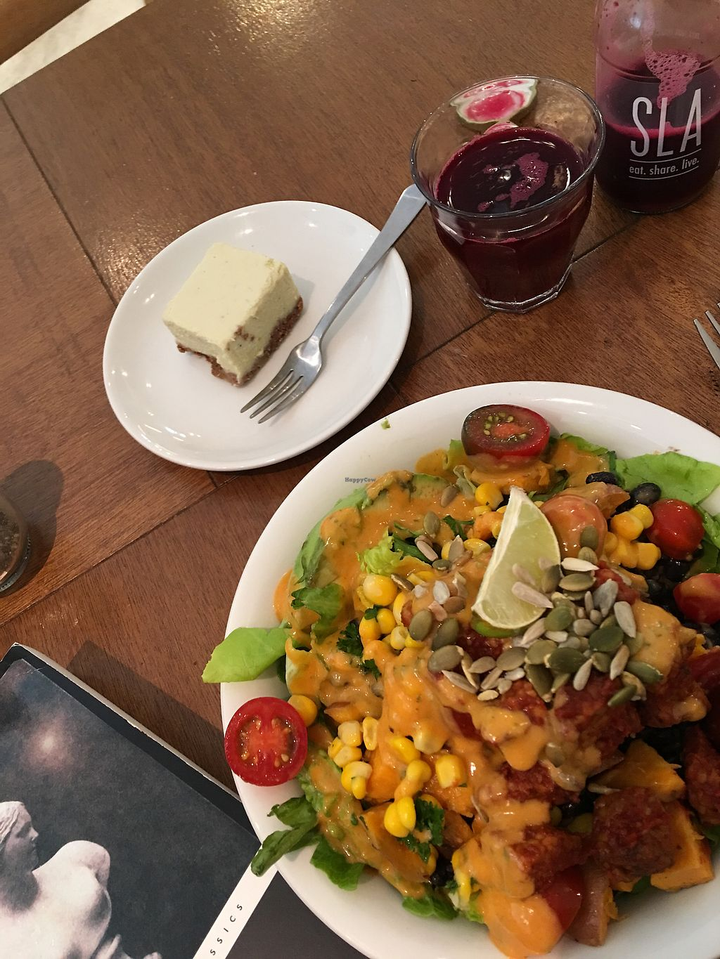 "Photo of SLA  by <a href=""/members/profile/mfvbtravellingsolo"">mfvbtravellingsolo</a> <br/>Mexican tempeh bowl, raw lemon bar, and energize juice <br/> July 9, 2017  - <a href='/contact/abuse/image/69079/278240'>Report</a>"