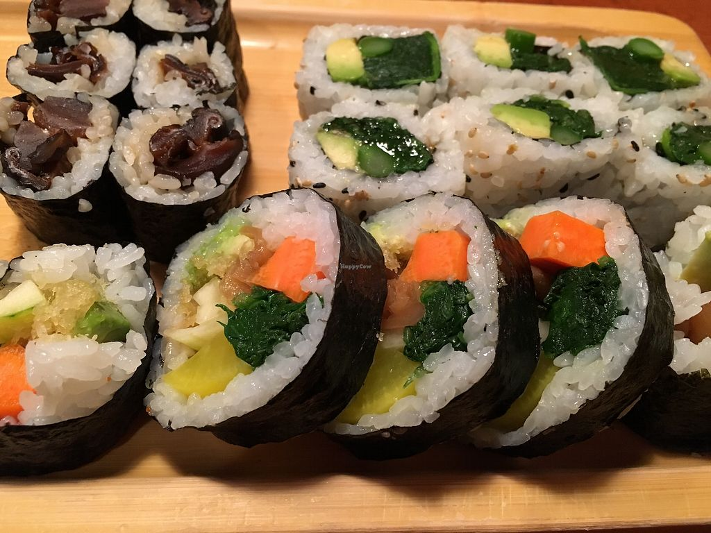 "Photo of Sushi Jin  by <a href=""/members/profile/cookiem"">cookiem</a> <br/>So many vegan sushi choices! <br/> June 21, 2017  - <a href='/contact/abuse/image/69115/271820'>Report</a>"