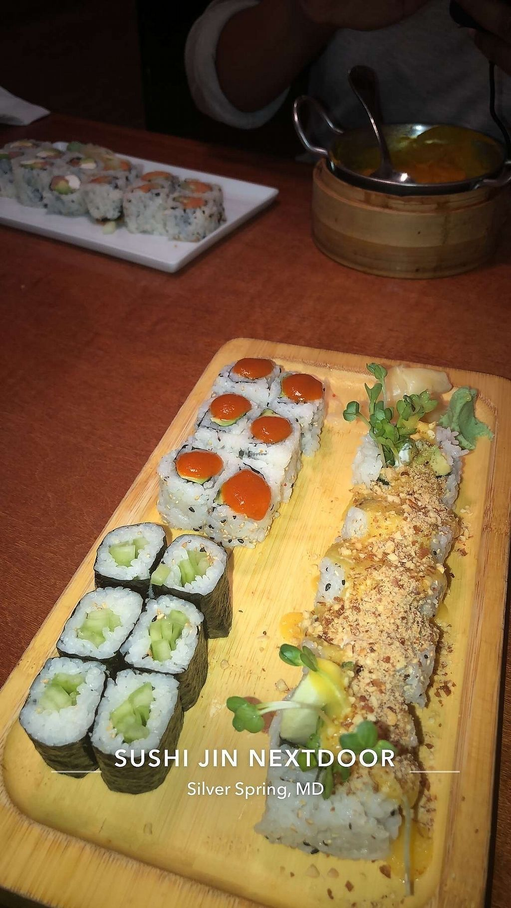 "Photo of Sushi Jin  by <a href=""/members/profile/distinee"">distinee</a> <br/>Spicy Avocado roll (top left), cucumber roll (bottom left) & April roll (right) <br/> January 21, 2018  - <a href='/contact/abuse/image/69115/349373'>Report</a>"