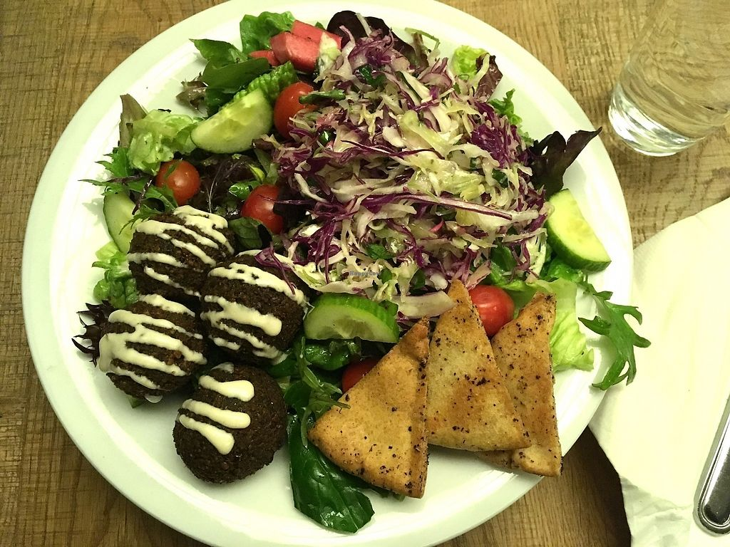 """Photo of B52 Cafe  by <a href=""""/members/profile/ecoRDN"""">ecoRDN</a> <br/>Falafel Salad B52 Cafe, Pittsburgh, PA - Photo by ecoRDN, ecoRDN.com  <br/> January 29, 2018  - <a href='/contact/abuse/image/69126/352367'>Report</a>"""