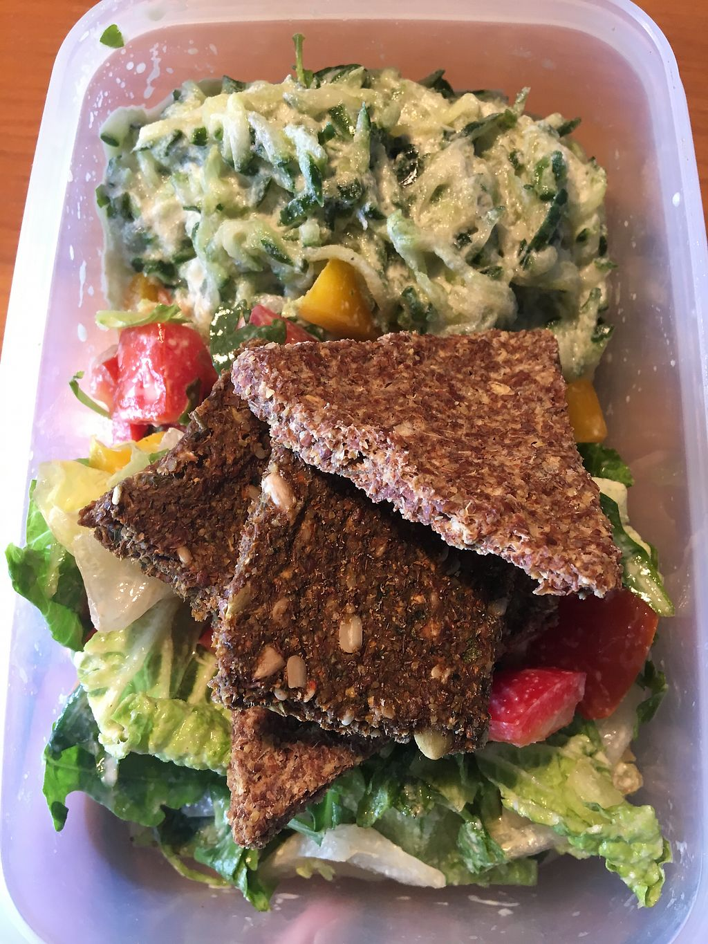 """Photo of Veggie Nyers  by <a href=""""/members/profile/tcsengusz"""">tcsengusz</a> <br/>You can take a mix of the two options they offer for lunch menu, with yummy crackers <br/> September 12, 2017  - <a href='/contact/abuse/image/69131/303712'>Report</a>"""