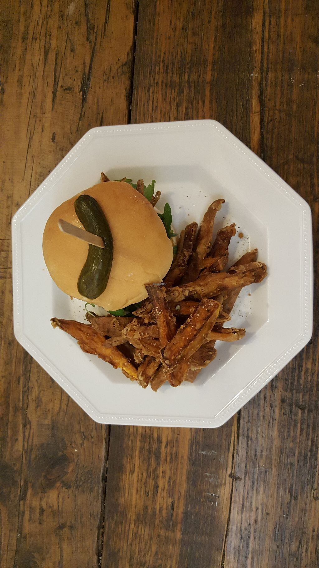 """Photo of Cupcakes and Shhht  by <a href=""""/members/profile/VeganAnnaS"""">VeganAnnaS</a> <br/>Vegan burger and sweet potato fries <br/> July 9, 2017  - <a href='/contact/abuse/image/69166/278259'>Report</a>"""