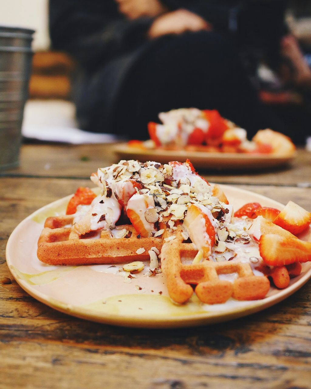 """Photo of Cupcakes and Shhht  by <a href=""""/members/profile/YukiLim"""">YukiLim</a> <br/>Pink beet waffles topped with hazelnuts, strawberries and oat cream <br/> September 21, 2017  - <a href='/contact/abuse/image/69166/306661'>Report</a>"""