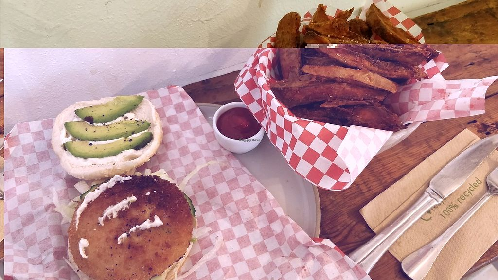 """Photo of Cupcakes and Shhht  by <a href=""""/members/profile/SuperVegan77"""">SuperVegan77</a> <br/>burger and sweet potato fries <br/> November 25, 2017  - <a href='/contact/abuse/image/69166/328979'>Report</a>"""