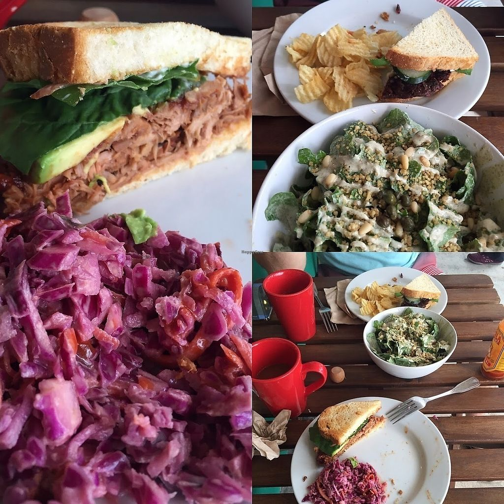 """Photo of Love Food Central  by <a href=""""/members/profile/Jamie9705"""">Jamie9705</a> <br/>Vegan caesar salad, burger and jackfruit sandwich  <br/> September 13, 2017  - <a href='/contact/abuse/image/69177/304009'>Report</a>"""