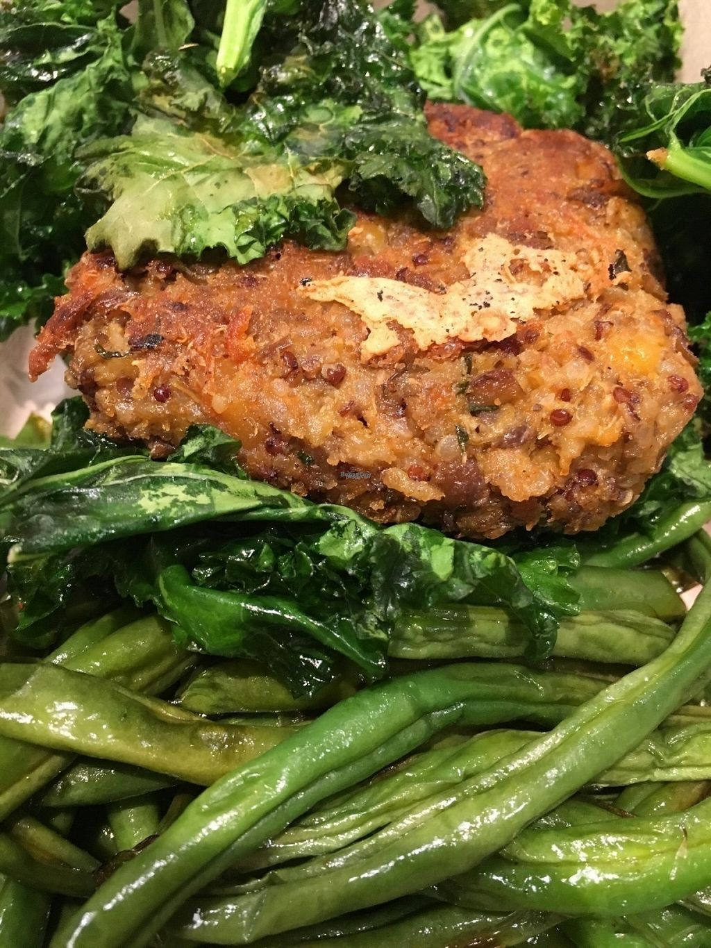 """Photo of The Little Beet  by <a href=""""/members/profile/cookiem"""">cookiem</a> <br/>Vegan patty with charred green beans and kale <br/> August 15, 2016  - <a href='/contact/abuse/image/69179/169134'>Report</a>"""