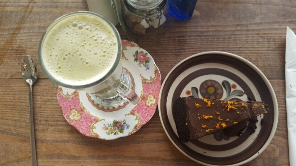 """Photo of The Natural Apothecary  by <a href=""""/members/profile/Gupalsmurthpadacal"""">Gupalsmurthpadacal</a> <br/>vegan orange chocolate cake and matcha latte <br/> May 1, 2016  - <a href='/contact/abuse/image/69248/146902'>Report</a>"""