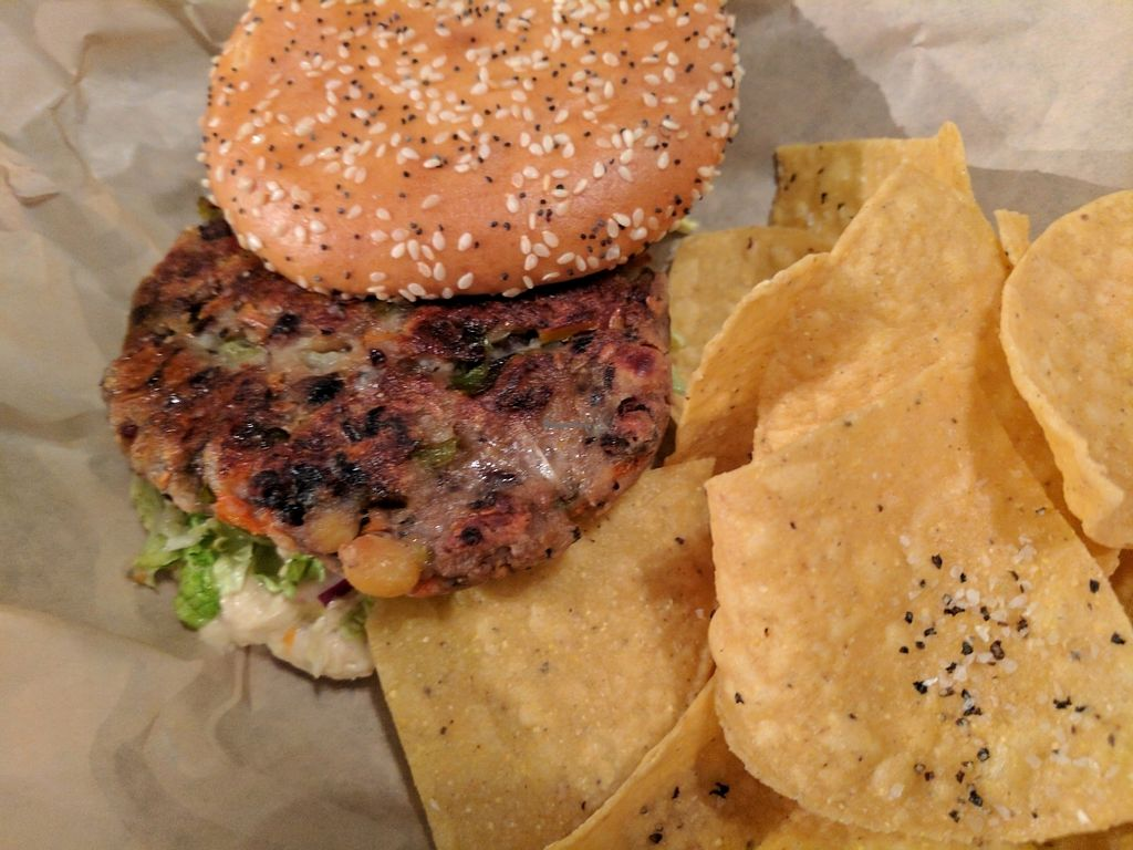 """Photo of Avenue Waterfront Grille  by <a href=""""/members/profile/ehauler%40gmail.com"""">ehauler@gmail.com</a> <br/>The Hippee: himemade vegan veggie burger on gf bum <br/> July 29, 2017  - <a href='/contact/abuse/image/69257/286024'>Report</a>"""