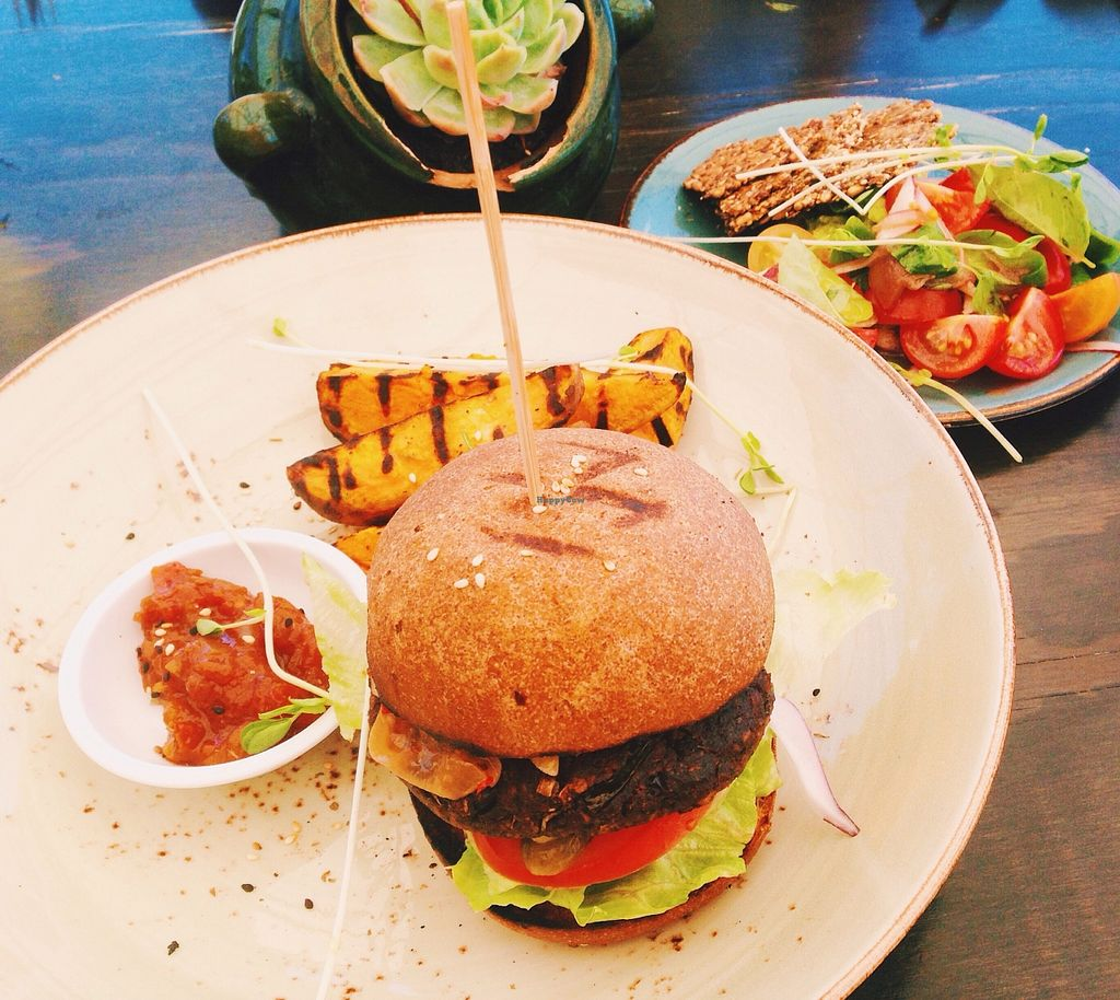 """Photo of Thomas's Bach  by <a href=""""/members/profile/thecuriousavocado"""">thecuriousavocado</a> <br/>Vegan burger with sweet potato wedges and five seed crackers with avocado  <br/> February 8, 2016  - <a href='/contact/abuse/image/69262/135417'>Report</a>"""