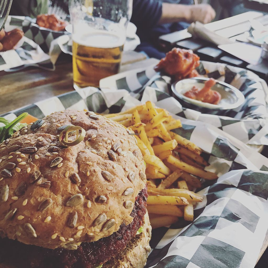 """Photo of Lucky Pig at Paradise Palms  by <a href=""""/members/profile/TheEverydayVegan"""">TheEverydayVegan</a> <br/>Seitan Burger, Fries & BBQ Cauliflower <br/> August 28, 2017  - <a href='/contact/abuse/image/69294/298339'>Report</a>"""