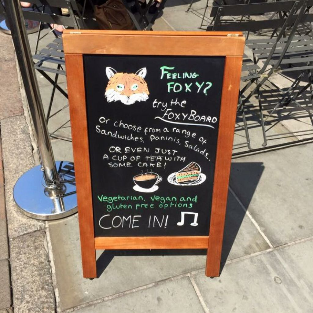 """Photo of Fox Cafe  by <a href=""""/members/profile/Libra77"""">Libra77</a> <br/>Advertising vegan options <br/> February 6, 2016  - <a href='/contact/abuse/image/69299/135258'>Report</a>"""