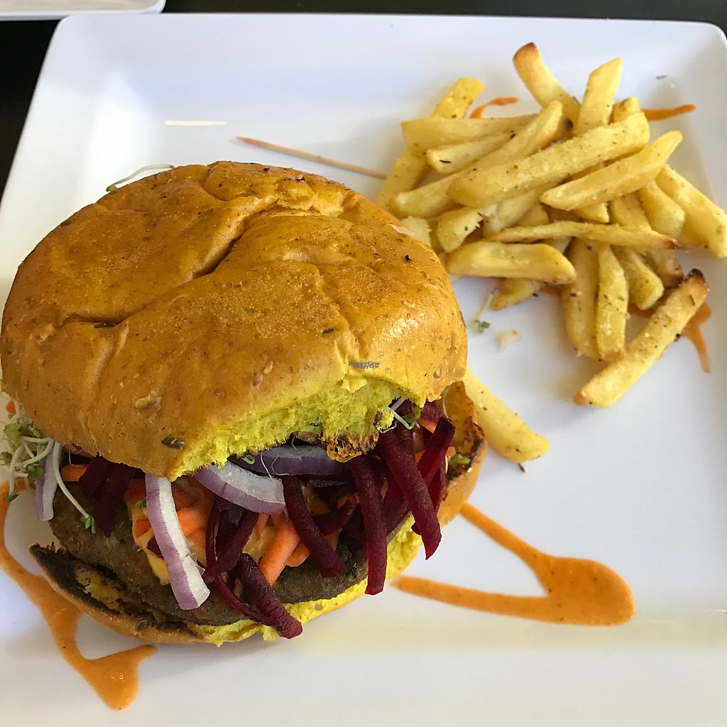 """Photo of El Punto Vegano  by <a href=""""/members/profile/xmrfigx"""">xmrfigx</a> <br/>Veggie burger with baked garlic fries! So Good! <br/> February 15, 2017  - <a href='/contact/abuse/image/69301/226984'>Report</a>"""