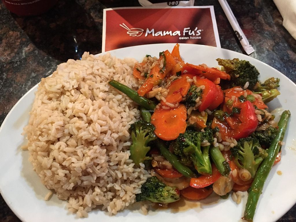 """Photo of Mama Fu's Asian House  by <a href=""""/members/profile/HannahBearsMom"""">HannahBearsMom</a> <br/>Steamed Veggies with Spicy General Fu Sauce & Brown Rice <br/> February 6, 2016  - <a href='/contact/abuse/image/69317/135280'>Report</a>"""