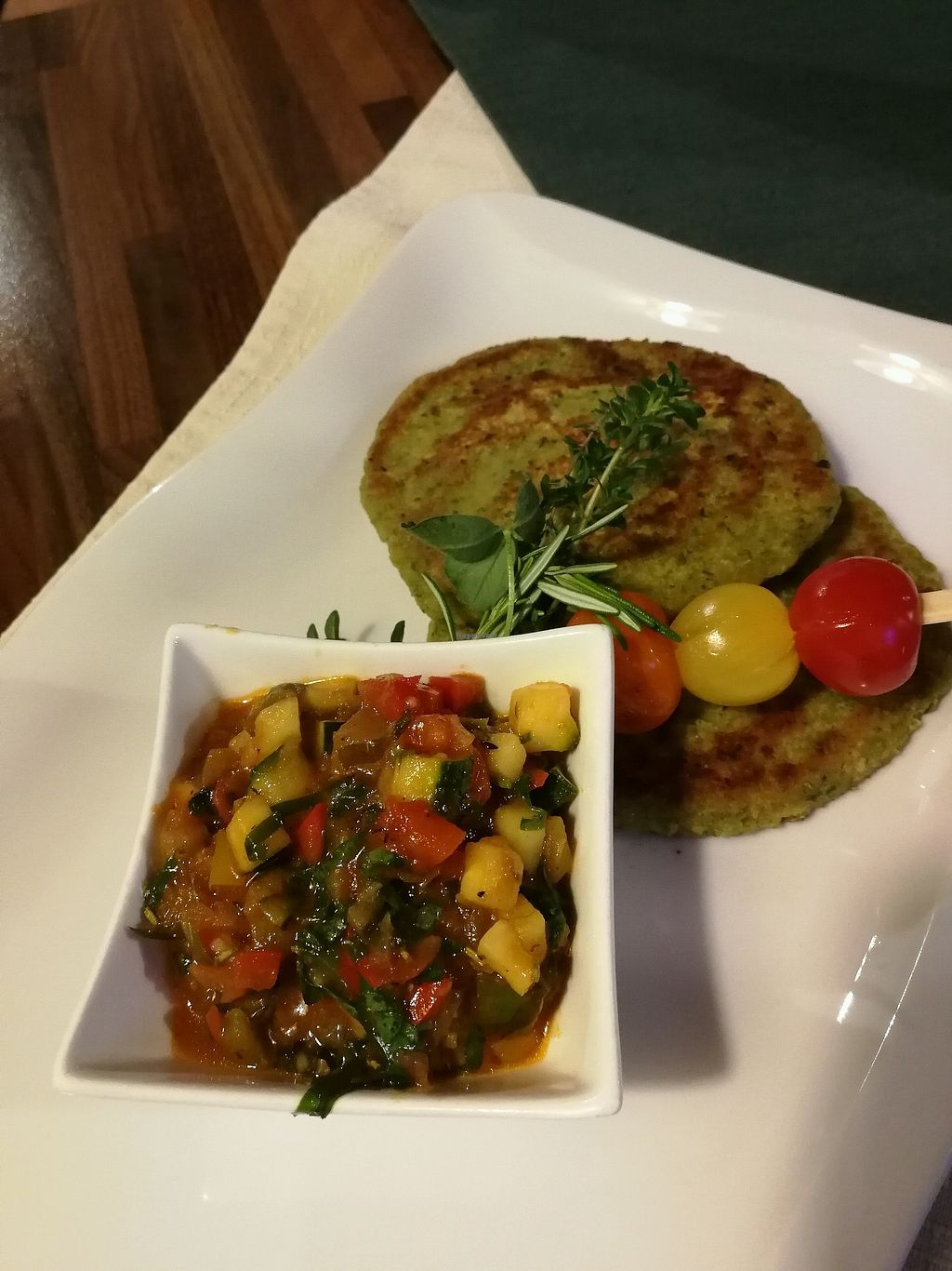 """Photo of Gasthaus zur Kohlstatt  by <a href=""""/members/profile/AvocadoSid"""">AvocadoSid</a> <br/>Chickpea patties with veggies <br/> April 14, 2018  - <a href='/contact/abuse/image/69348/385884'>Report</a>"""
