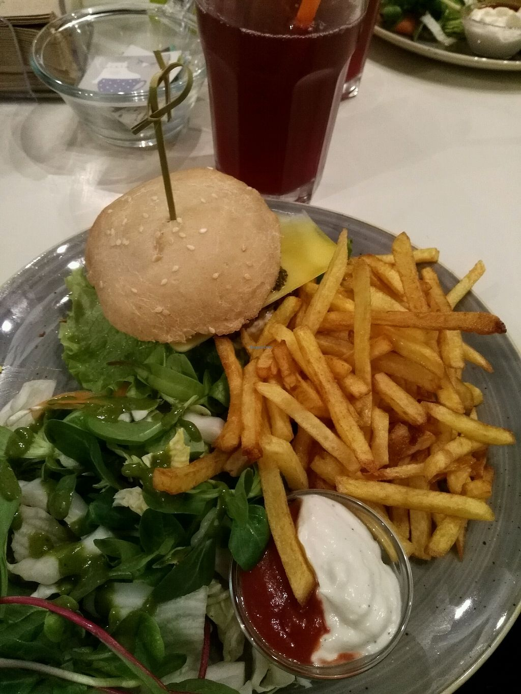 """Photo of Holigans  by <a href=""""/members/profile/AinoPajukangas"""">AinoPajukangas</a> <br/>Vegan burger with organic french fries and homemade lemonade <br/> December 27, 2017  - <a href='/contact/abuse/image/69372/339582'>Report</a>"""