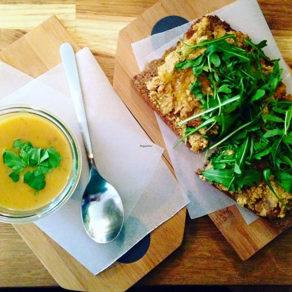 "Photo of Stullenbuero  by <a href=""/members/profile/SophiaHoffmann"">SophiaHoffmann</a> <br/>vegan spicy carrot soup and vegan open sandwich with tofu spread, dates and figs <br/> February 9, 2016  - <a href='/contact/abuse/image/69394/135606'>Report</a>"