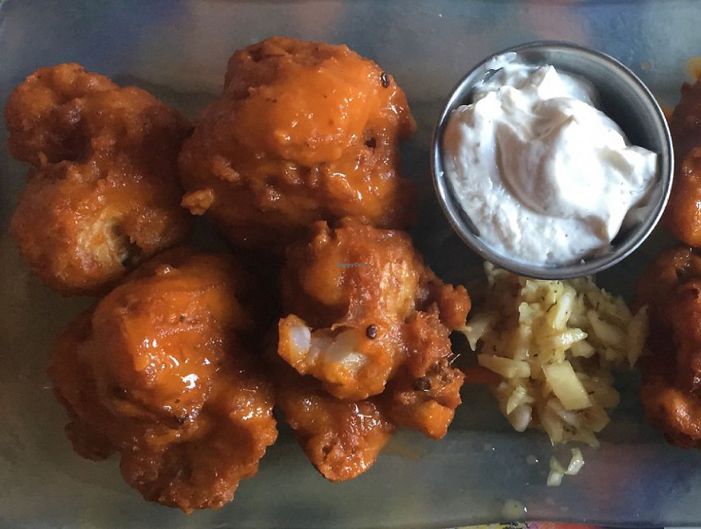 """Photo of GWARbar  by <a href=""""/members/profile/Larissasiegfried"""">Larissasiegfried</a> <br/>cauliflower nuggets w/ vegan buffalo and vegan ranch <br/> June 25, 2016  - <a href='/contact/abuse/image/69418/232664'>Report</a>"""