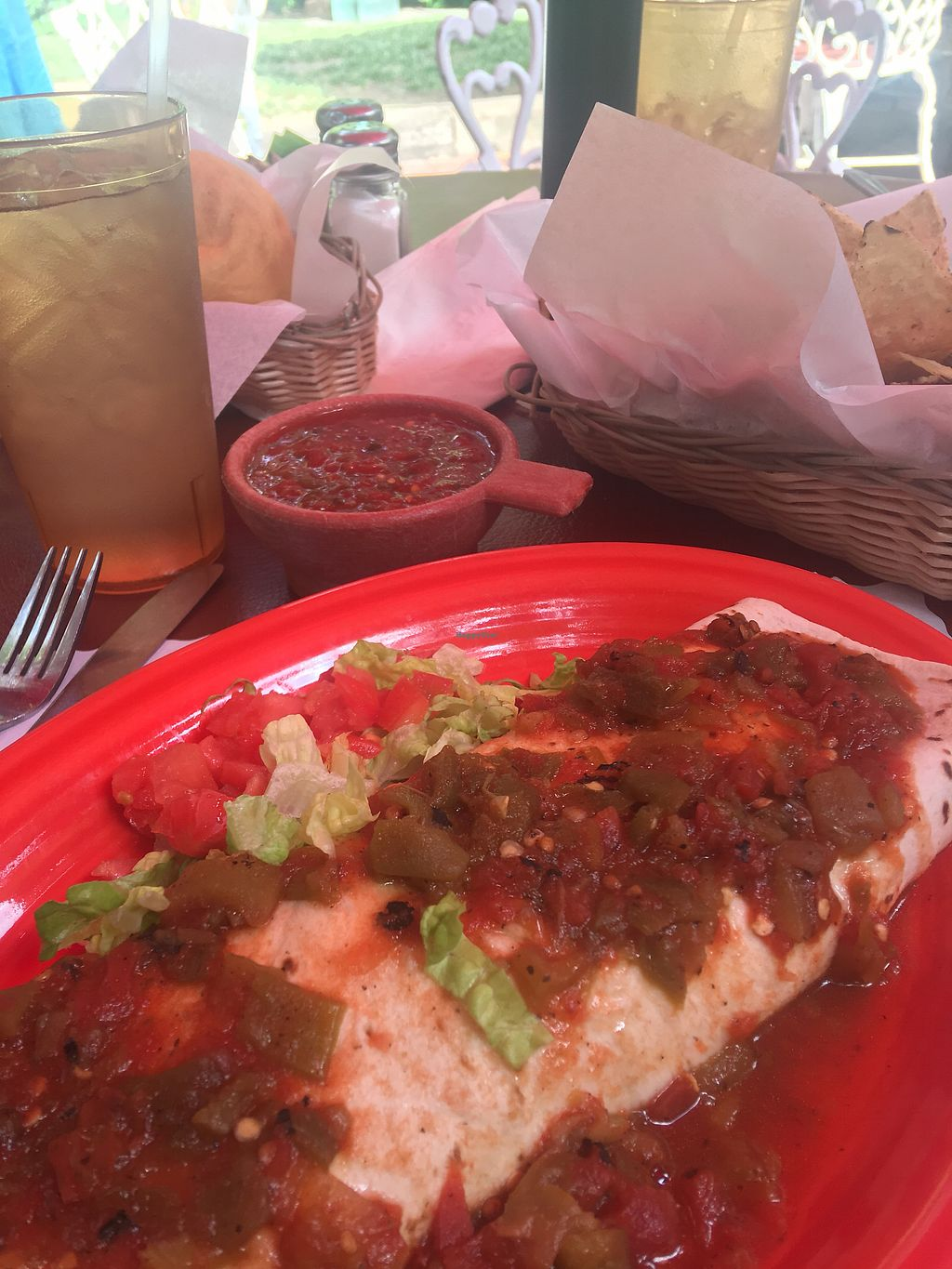 """Photo of El Patio  by <a href=""""/members/profile/VeganCU12"""">VeganCU12</a> <br/>Vegetarian burrito with no cheese!   <br/> July 8, 2017  - <a href='/contact/abuse/image/6946/277719'>Report</a>"""