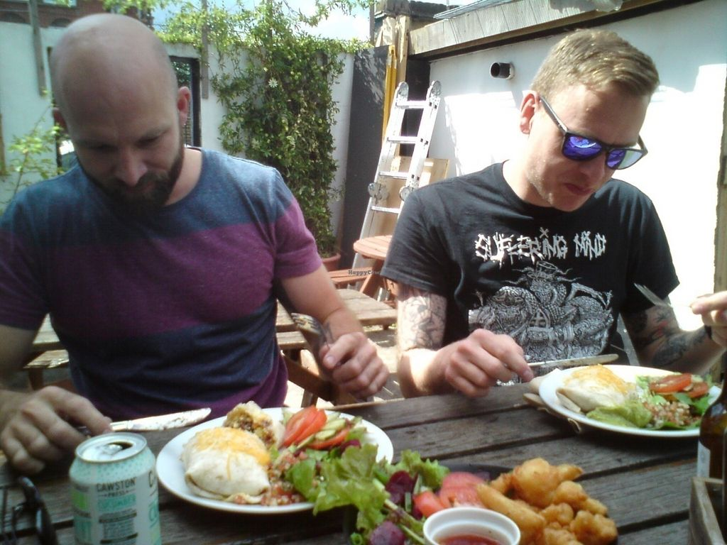 """Photo of Royal Sovereign Pub  by <a href=""""/members/profile/jon%20active"""">jon active</a> <br/>Happy vegans in the garden of Cafe So Vegan <br/> July 16, 2016  - <a href='/contact/abuse/image/69523/160330'>Report</a>"""