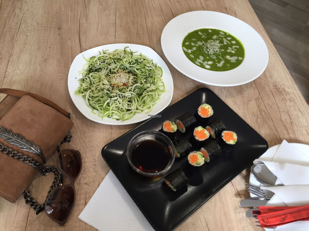 """Photo of BIOrganic Raw Cafe  by <a href=""""/members/profile/Veganmeower"""">Veganmeower</a> <br/>vegan sushi , raw noodles and spinach soup <br/> August 22, 2016  - <a href='/contact/abuse/image/69552/170669'>Report</a>"""