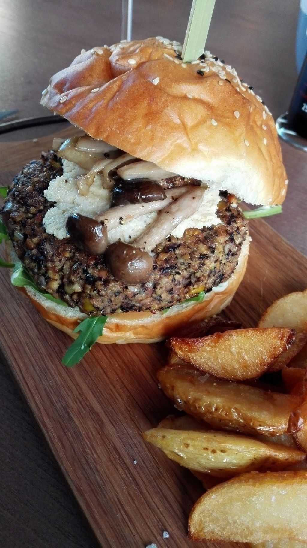 """Photo of CLOSED: Nomad Restaurant  by <a href=""""/members/profile/NatashaV"""">NatashaV</a> <br/>Vegan bean burger with wild mushrooms and cashew ricotta <br/> July 28, 2016  - <a href='/contact/abuse/image/69554/162846'>Report</a>"""