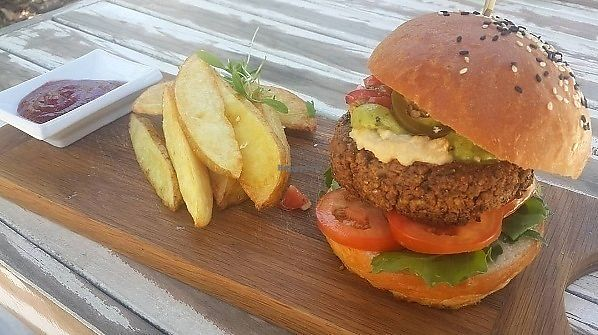 """Photo of CLOSED: Nomad Restaurant  by <a href=""""/members/profile/paullikespasta"""">paullikespasta</a> <br/>100% vegan burger <br/> September 29, 2017  - <a href='/contact/abuse/image/69554/309552'>Report</a>"""