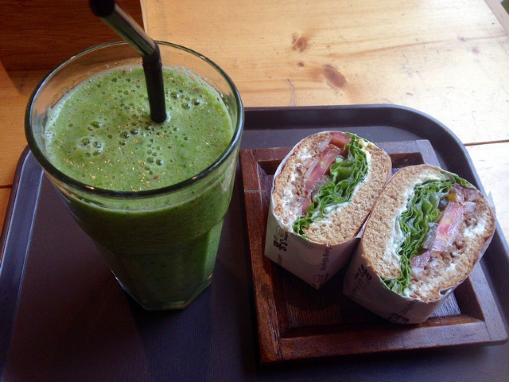 """Photo of Kong's Burger - Gaya-daero  by <a href=""""/members/profile/rhiannonmadison"""">rhiannonmadison</a> <br/>bean burger and green smoothie  <br/> May 7, 2016  - <a href='/contact/abuse/image/69587/147844'>Report</a>"""
