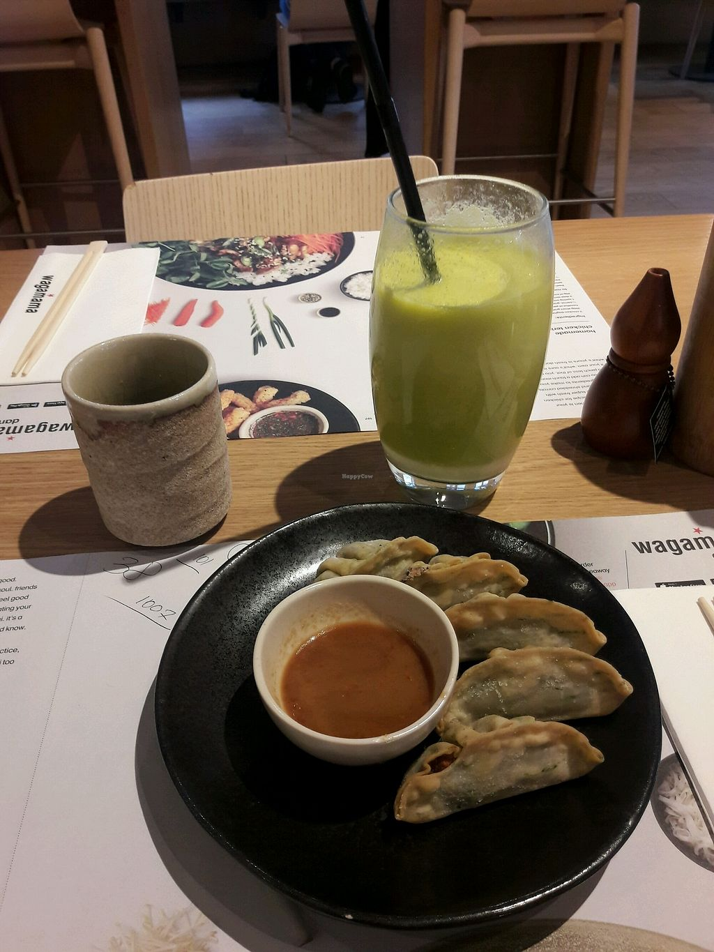 """Photo of Wagamama  by <a href=""""/members/profile/piffelina"""">piffelina</a> <br/>Dumplings, fresh juice and green tea <br/> December 3, 2017  - <a href='/contact/abuse/image/69590/331682'>Report</a>"""