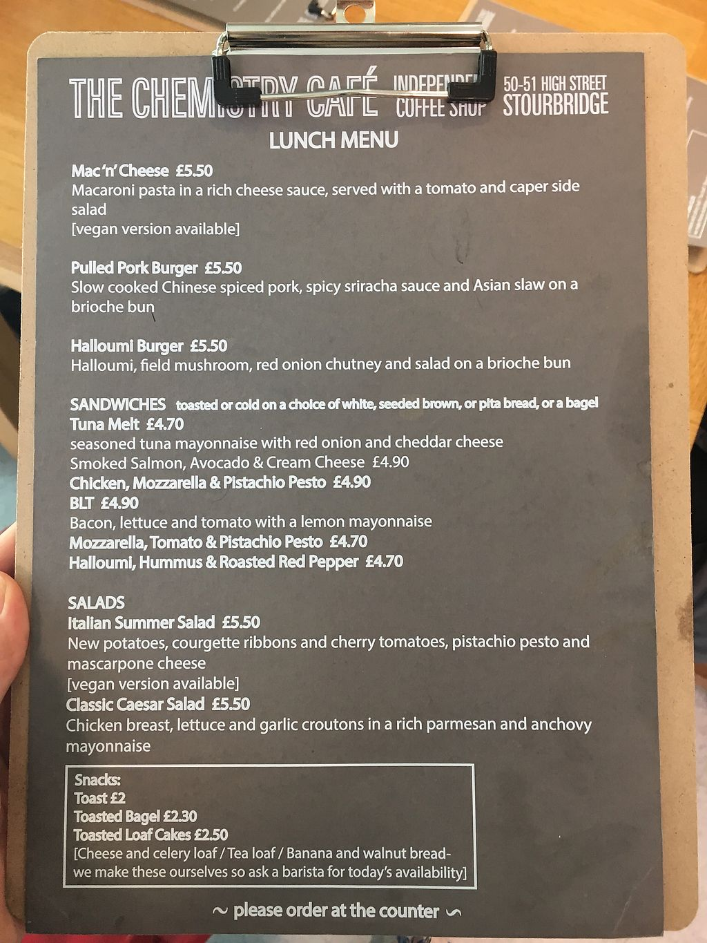 """Photo of The Chemistry Cafe  by <a href=""""/members/profile/Spaghetti_monster"""">Spaghetti_monster</a> <br/>lunch menu 24/07/17 <br/> July 24, 2017  - <a href='/contact/abuse/image/69616/284377'>Report</a>"""