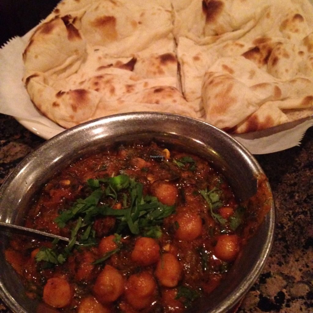 """Photo of Cafe Bombay  by <a href=""""/members/profile/calamaestra"""">calamaestra</a> <br/>chickpeas and spinach with naan <br/> February 14, 2016  - <a href='/contact/abuse/image/69624/136224'>Report</a>"""