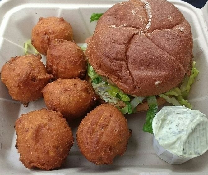 "Photo of Simmer Down Caribbean Cafe - Food Trailer  by <a href=""/members/profile/VeganSquid"">VeganSquid</a> <br/>Vegan Spicy Lentil Burger & Corn Fritters   <br/> October 22, 2016  - <a href='/contact/abuse/image/69627/183503'>Report</a>"