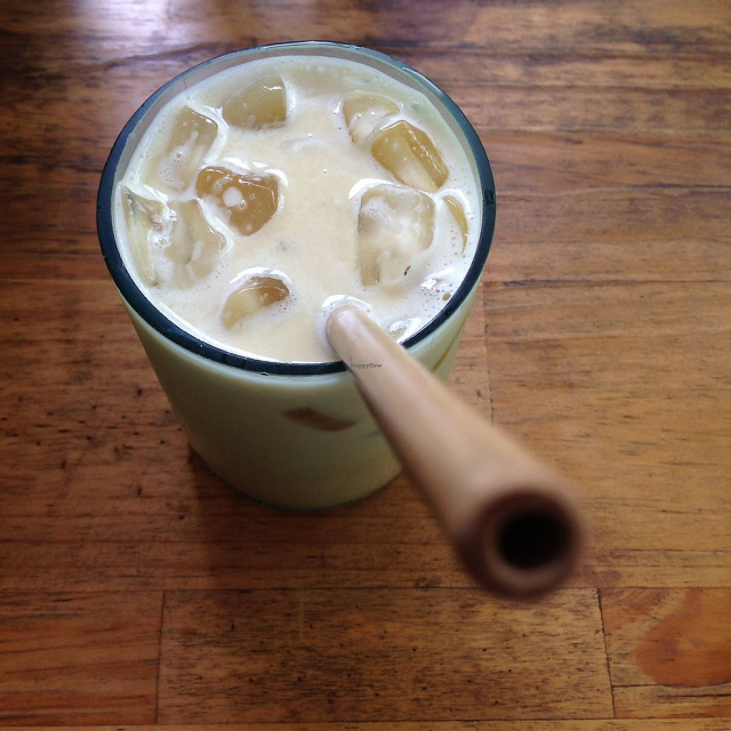 """Photo of ARTillery  by <a href=""""/members/profile/VeganMush"""">VeganMush</a> <br/>iced turmeric ginger cashew milk latte  <br/> May 26, 2017  - <a href='/contact/abuse/image/69630/262516'>Report</a>"""