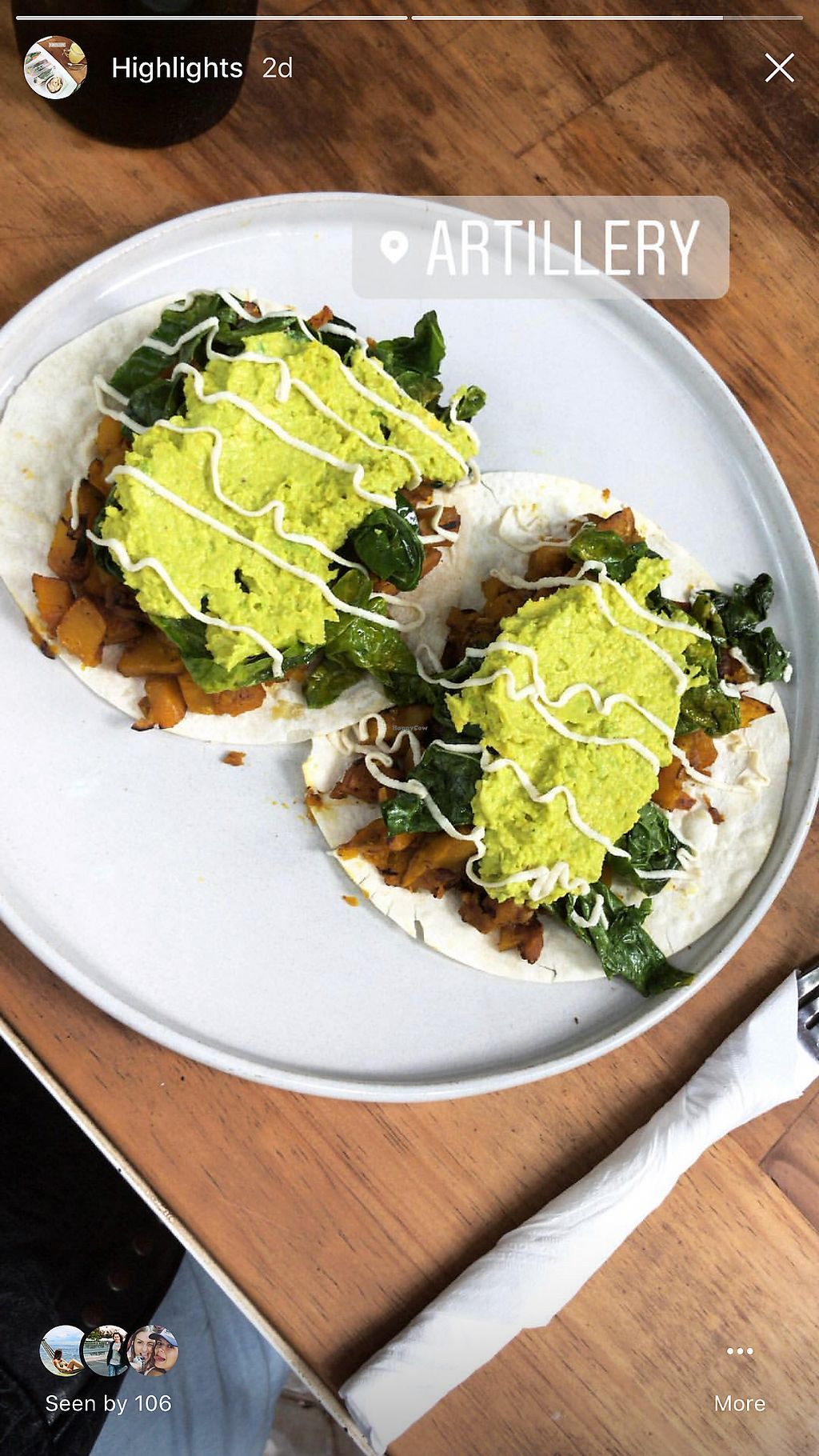"""Photo of ARTillery  by <a href=""""/members/profile/AnnaLevshin"""">AnnaLevshin</a> <br/>Pumpkin tacos $4.50  <br/> February 21, 2018  - <a href='/contact/abuse/image/69630/362023'>Report</a>"""