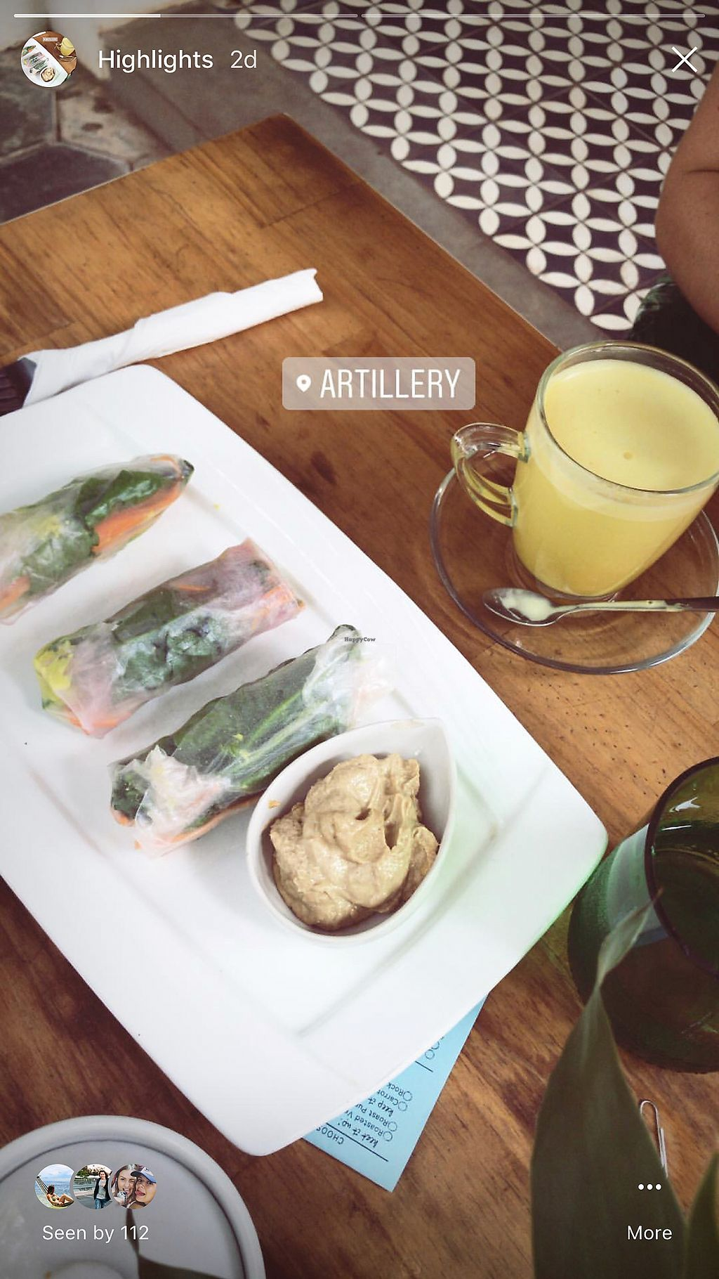 """Photo of ARTillery  by <a href=""""/members/profile/AnnaLevshin"""">AnnaLevshin</a> <br/>Rice paper rolls & tumeric latte <br/> February 21, 2018  - <a href='/contact/abuse/image/69630/362024'>Report</a>"""