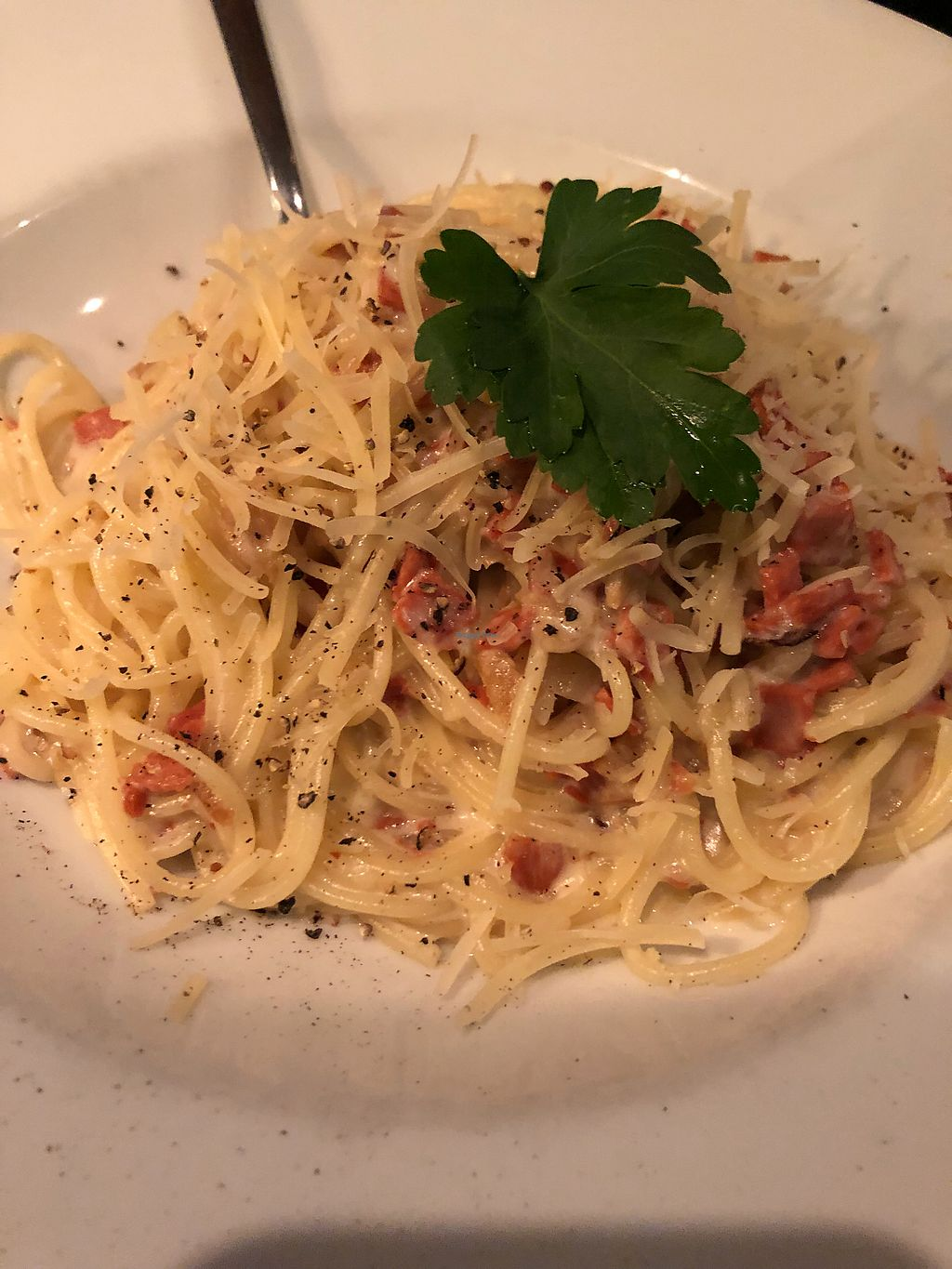 """Photo of Feca  by <a href=""""/members/profile/SeitanSeitanSeitan"""">SeitanSeitanSeitan</a> <br/>Vegan carbonara, yum!! <br/> April 14, 2018  - <a href='/contact/abuse/image/69651/385623'>Report</a>"""