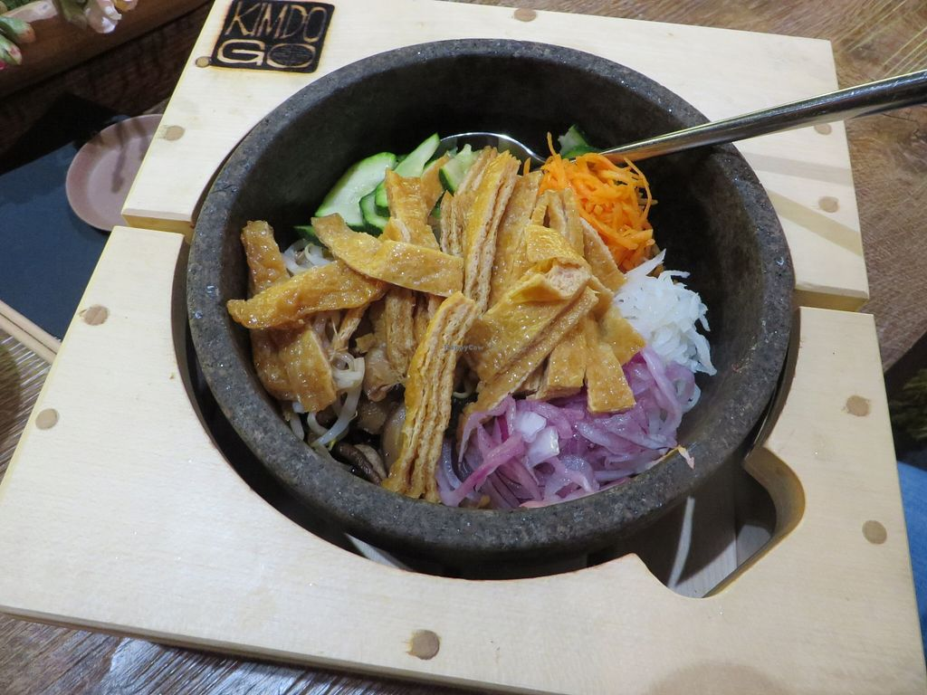 """Photo of Kimdogo  by <a href=""""/members/profile/VegiAnna"""">VegiAnna</a> <br/>Dolsot Bibimbap Tofu (vegan) - basically the same as 'Jabchae Tofu', but served in a hot stone bowl so it keeps cooking  <br/> February 26, 2016  - <a href='/contact/abuse/image/69714/137902'>Report</a>"""