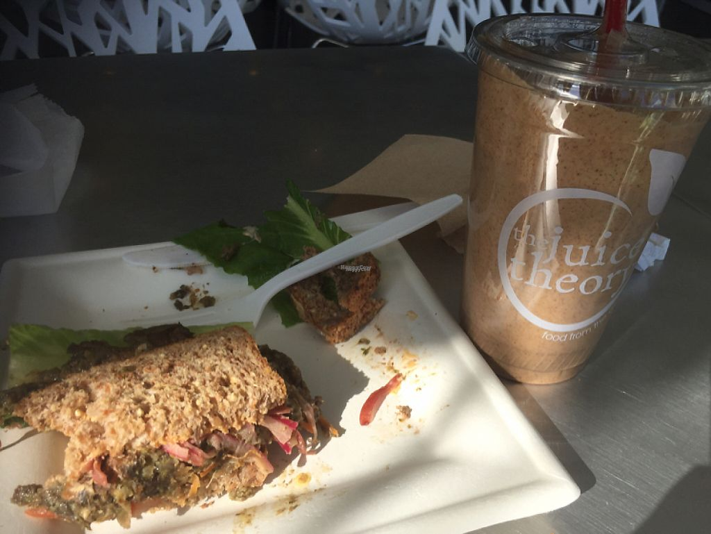"Photo of The Juice Theory  by <a href=""/members/profile/TracyV600"">TracyV600</a> <br/>peanut butter coffee smoothie with the really good veggie burger that was not very good. do not recommend either <br/> March 23, 2017  - <a href='/contact/abuse/image/69724/239984'>Report</a>"