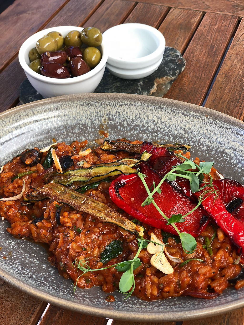"""Photo of Postmasters  by <a href=""""/members/profile/ben_eitel"""">ben_eitel</a> <br/>Roasted Capsicum Risotto with a side of olives  <br/> March 9, 2018  - <a href='/contact/abuse/image/69738/368350'>Report</a>"""
