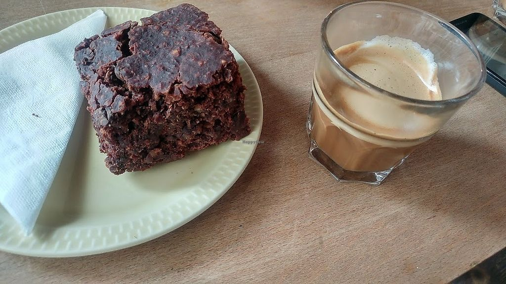 "Photo of Kaffestuen Vesterbro  by <a href=""/members/profile/SaraMarkic"">SaraMarkic</a> <br/>coffee with soy milk and vegan brownie <br/> December 5, 2017  - <a href='/contact/abuse/image/69746/332634'>Report</a>"