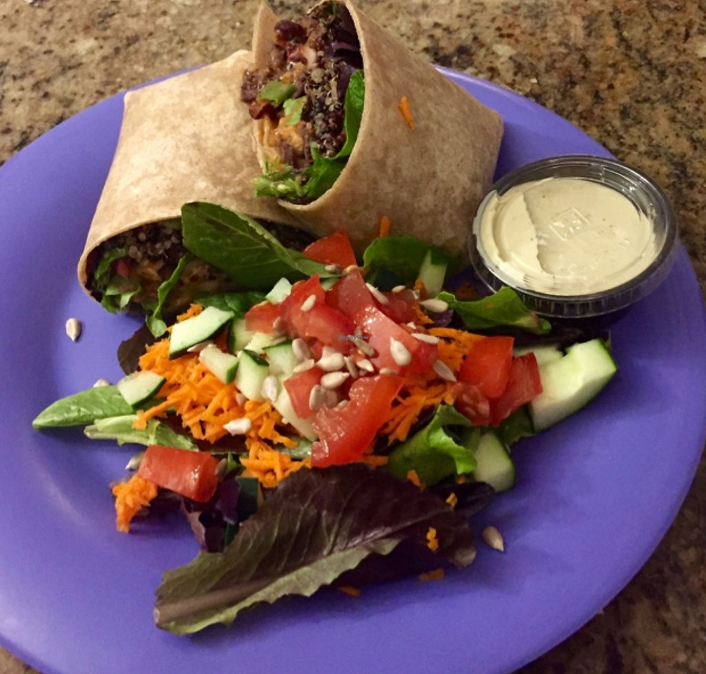 "Photo of Dandelion Communitea Cafe  by <a href=""/members/profile/MattSpann1024"">MattSpann1024</a> <br/>Giddy-Up Wrap w/ Quinoa & Spring Mix and Side Salad <br/> May 23, 2016  - <a href='/contact/abuse/image/6979/197051'>Report</a>"