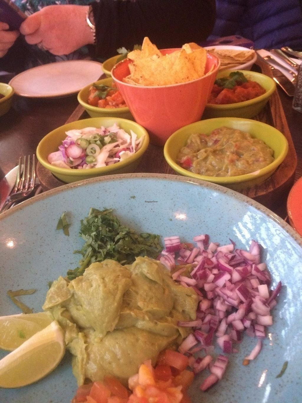 """Photo of Las Iguanas - Hurst St  by <a href=""""/members/profile/alia_801"""">alia_801</a> <br/>Taco sharing plate, with extra guacamole <br/> July 14, 2016  - <a href='/contact/abuse/image/69839/159816'>Report</a>"""