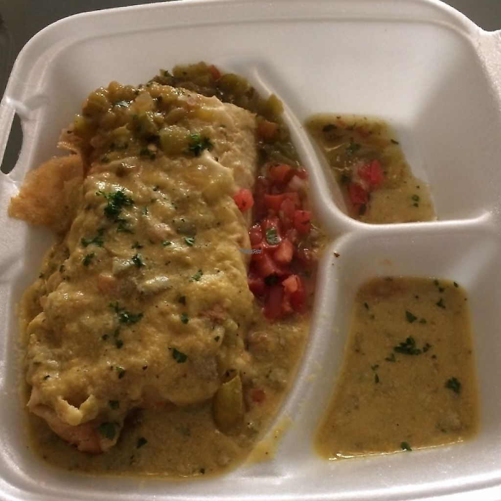 "Photo of CLOSED: Handy Diner  by <a href=""/members/profile/Veg-Predilection"">Veg-Predilection</a> <br/>Take out - bean and potato verde Chimichanga <br/> October 31, 2016  - <a href='/contact/abuse/image/69843/191188'>Report</a>"
