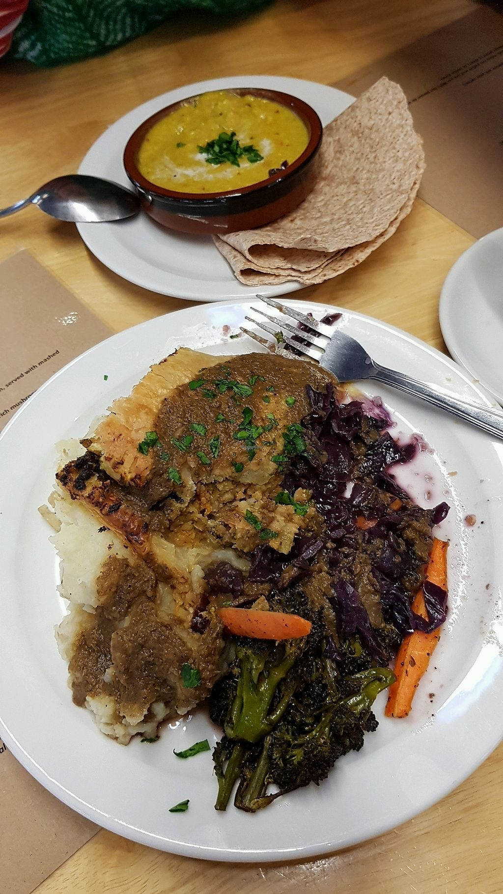 "Photo of Cafe Van Gogh  by <a href=""/members/profile/jollypig"">jollypig</a> <br/>Sunday roast & flat bread and dhal <br/> March 18, 2018  - <a href='/contact/abuse/image/69852/372426'>Report</a>"
