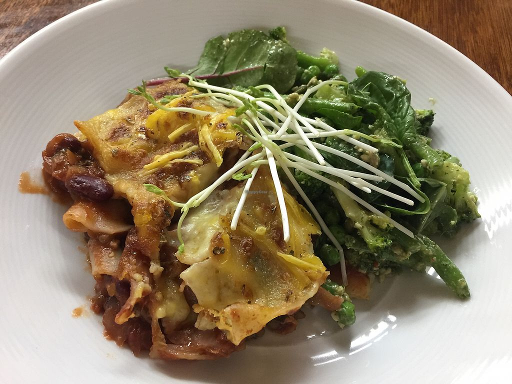 """Photo of Mish Mash Design & Cafe  by <a href=""""/members/profile/Tiggy"""">Tiggy</a> <br/>Freshly baked vegan lasagna $9 (with green salad $15) - very nice <br/> November 8, 2017  - <a href='/contact/abuse/image/69969/323228'>Report</a>"""