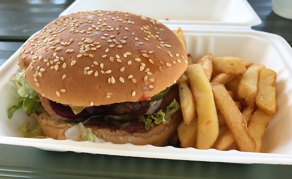 """Photo of Feed The Earthlings  by <a href=""""/members/profile/AmandaAttard"""">AmandaAttard</a> <br/>Burger with the lot. Yum! <br/> April 17, 2017  - <a href='/contact/abuse/image/69994/254261'>Report</a>"""